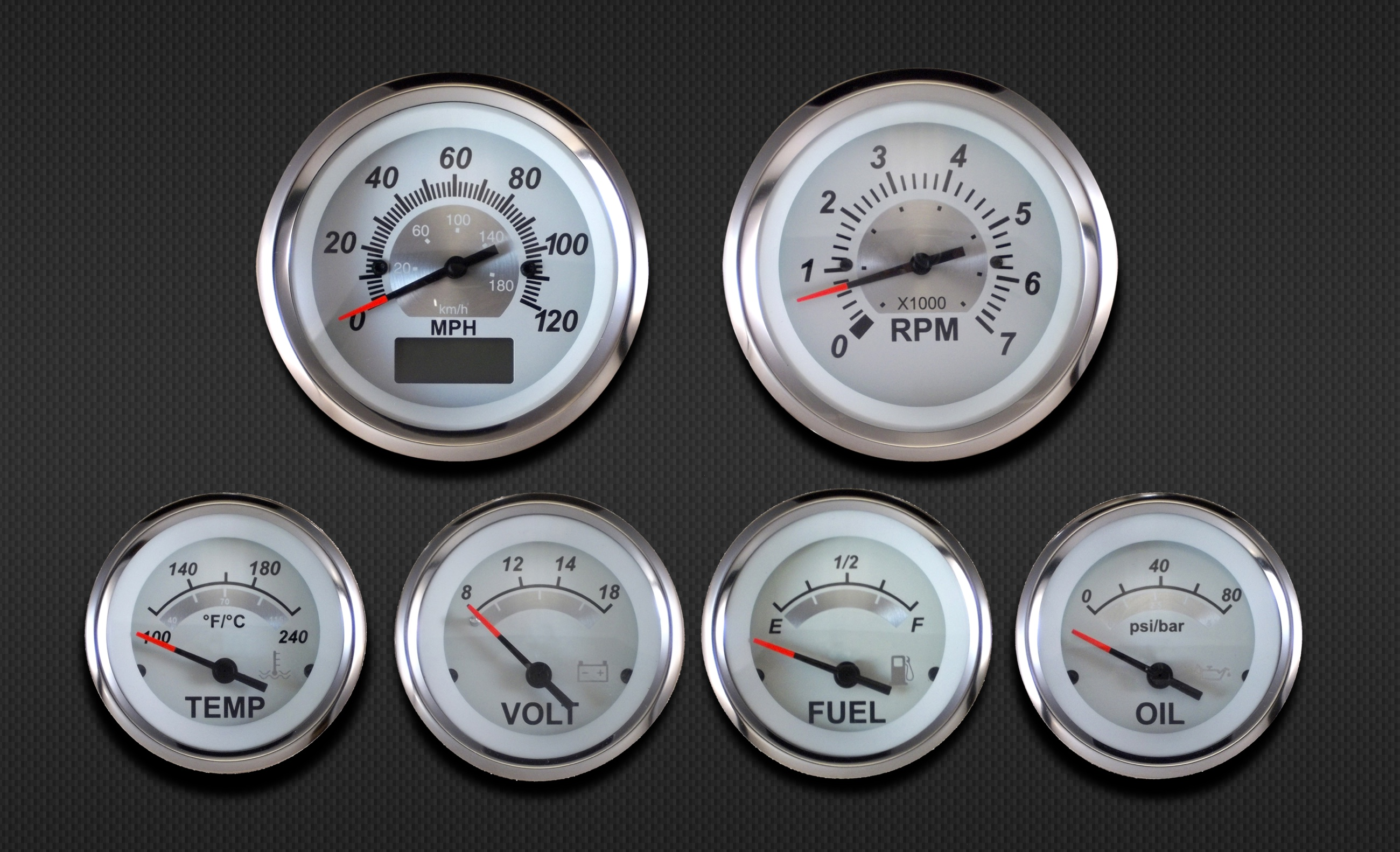 GPS Speedometer 6 Gauge Kit Sterling (White) - eGauges co uk