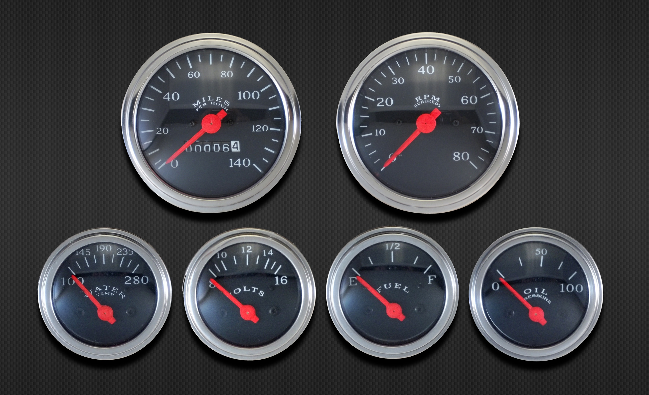 Car Gauges Set : Gauge mech speedo set black egauges